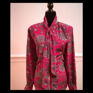 Multicolored Paisley Pussy Bow Blouse. EUC